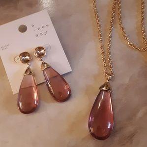 Pink Clear Teardrop & Crystal Earrings/Necklace